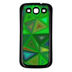 Green Triangle Background Polygon Samsung Galaxy S3 Back Case (black)