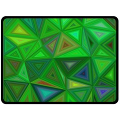Green Triangle Background Polygon Double Sided Fleece Blanket (large)  by Celenk