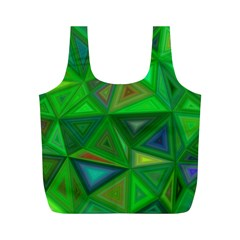 Green Triangle Background Polygon Full Print Recycle Bags (m)  by Celenk