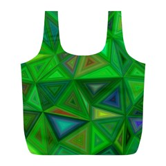 Green Triangle Background Polygon Full Print Recycle Bags (l)  by Celenk