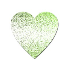 Green Square Background Color Mosaic Heart Magnet by Celenk