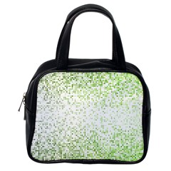 Green Square Background Color Mosaic Classic Handbags (one Side) by Celenk