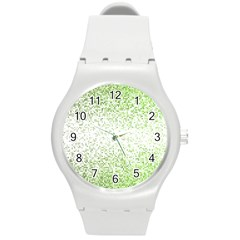 Green Square Background Color Mosaic Round Plastic Sport Watch (m) by Celenk