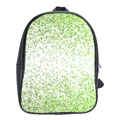 Green Square Background Color Mosaic School Bag (xl) by Celenk