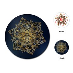 Gold Mandala Floral Ornament Ethnic Playing Cards (round)