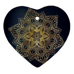 Gold Mandala Floral Ornament Ethnic Heart Ornament (two Sides) by Celenk