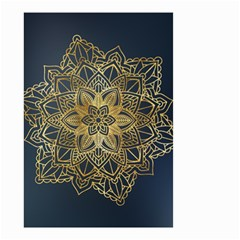 Gold Mandala Floral Ornament Ethnic Small Garden Flag (two Sides) by Celenk