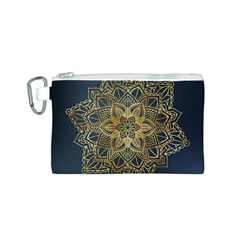 Gold Mandala Floral Ornament Ethnic Canvas Cosmetic Bag (s) by Celenk