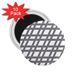 Grid Pattern Seamless Monochrome 2 25  Magnets (10 Pack)