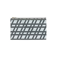 Grid Pattern Seamless Monochrome Cosmetic Bag (small)  by Celenk