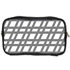 Grid Pattern Seamless Monochrome Toiletries Bags 2 Side by Celenk