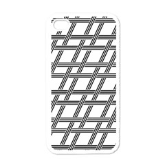 Grid Pattern Seamless Monochrome Apple Iphone 4 Case (white) by Celenk