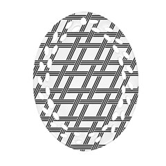 Grid Pattern Seamless Monochrome Oval Filigree Ornament (two Sides) by Celenk
