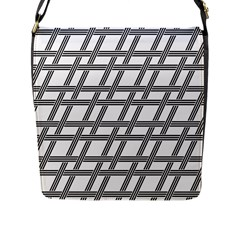 Grid Pattern Seamless Monochrome Flap Messenger Bag (l)  by Celenk