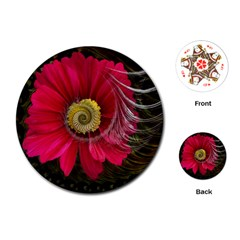 Fantasy Flower Fractal Blossom Playing Cards (round)  by Celenk