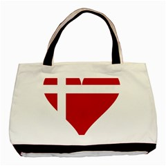 Heart Love Flag Denmark Red Cross Basic Tote Bag by Celenk