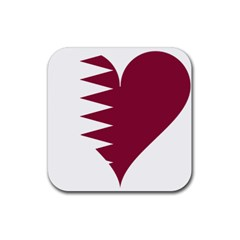 Heart Love Flag Qatar Rubber Square Coaster (4 Pack)  by Celenk