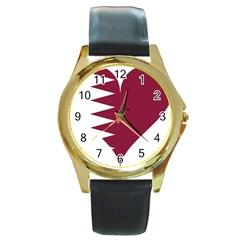 Heart Love Flag Qatar Round Gold Metal Watch by Celenk