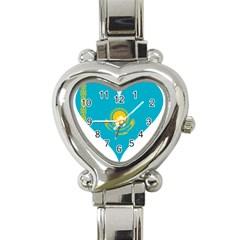 Heart Love Flag Sun Sky Blue Heart Italian Charm Watch