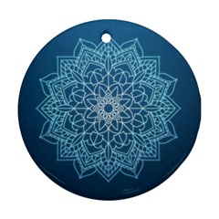 Mandala Floral Ornament Pattern Ornament (round) by Celenk