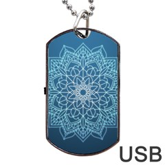Mandala Floral Ornament Pattern Dog Tag Usb Flash (one Side) by Celenk