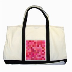 Pink Square Background Color Mosaic Two Tone Tote Bag by Celenk