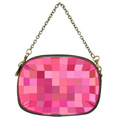 Pink Square Background Color Mosaic Chain Purses (two Sides)  by Celenk