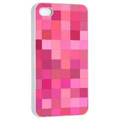 Pink Square Background Color Mosaic Apple Iphone 4/4s Seamless Case (white) by Celenk