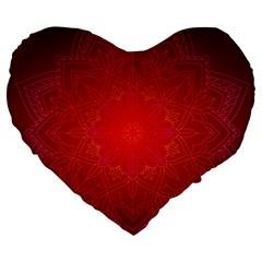Mandala Ornament Floral Pattern Large 19  Premium Heart Shape Cushions by Celenk