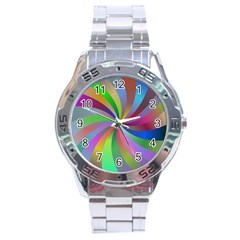 Spiral Background Design Swirl Stainless Steel Analogue Watch by Celenk