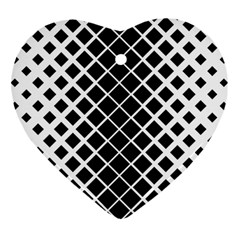 Square Diagonal Pattern Monochrome Heart Ornament (two Sides) by Celenk