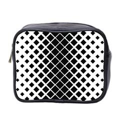 Square Diagonal Pattern Monochrome Mini Toiletries Bag 2 Side by Celenk
