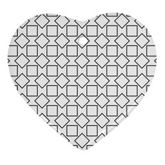 Square Line Stripe Pattern Heart Ornament (two Sides) by Celenk