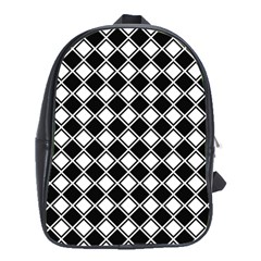 Square Diagonal Pattern Seamless School Bag (xl) by Celenk