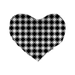 Square Diagonal Pattern Seamless Standard 16  Premium Flano Heart Shape Cushions by Celenk