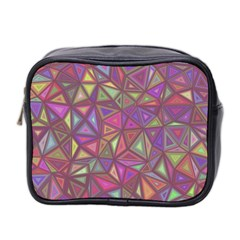 Triangle Background Abstract Mini Toiletries Bag 2 Side by Celenk