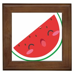 Watermelon Red Network Fruit Juicy Framed Tiles by Celenk