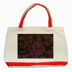 Purple Black Red Fabric Textile Classic Tote Bag (red) by Celenk