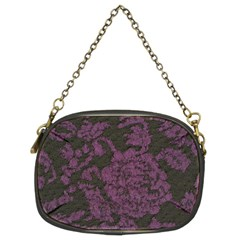 Purple Black Red Fabric Textile Chain Purses (two Sides)  by Celenk