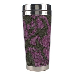 Purple Black Red Fabric Textile Stainless Steel Travel Tumblers by Celenk