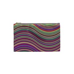 Wave Abstract Happy Background Cosmetic Bag (small)  by Celenk