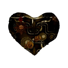 Wonderful Noble Steampunk Design, Clocks And Gears And Butterflies Standard 16  Premium Flano Heart Shape Cushions by FantasyWorld7
