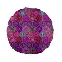 12 Geometric Hand Drawings Pattern Standard 15  Premium Flano Round Cushions by Cveti