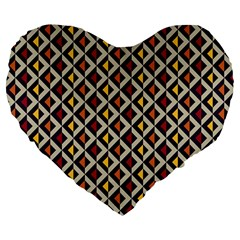 Native American Pattern 5 Large 19  Premium Flano Heart Shape Cushions by Cveti