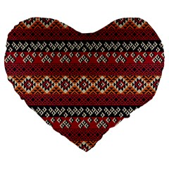 Native American Pattern 8 Large 19  Premium Heart Shape Cushions by Cveti