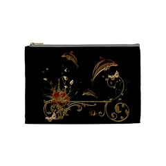 Wonderful Dolphins And Flowers, Golden Colors Cosmetic Bag (medium)  by FantasyWorld7