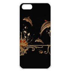 Wonderful Dolphins And Flowers, Golden Colors Apple Iphone 5 Seamless Case (white) by FantasyWorld7