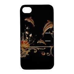 Wonderful Dolphins And Flowers, Golden Colors Apple Iphone 4/4s Hardshell Case With Stand by FantasyWorld7