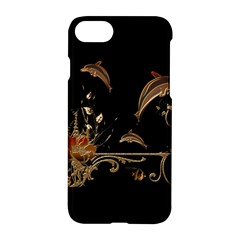 Wonderful Dolphins And Flowers, Golden Colors Apple Iphone 8 Hardshell Case by FantasyWorld7