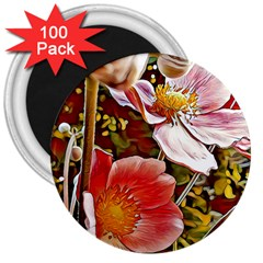 Flower Hostanamone Drawing Plant 3  Magnets (100 Pack)